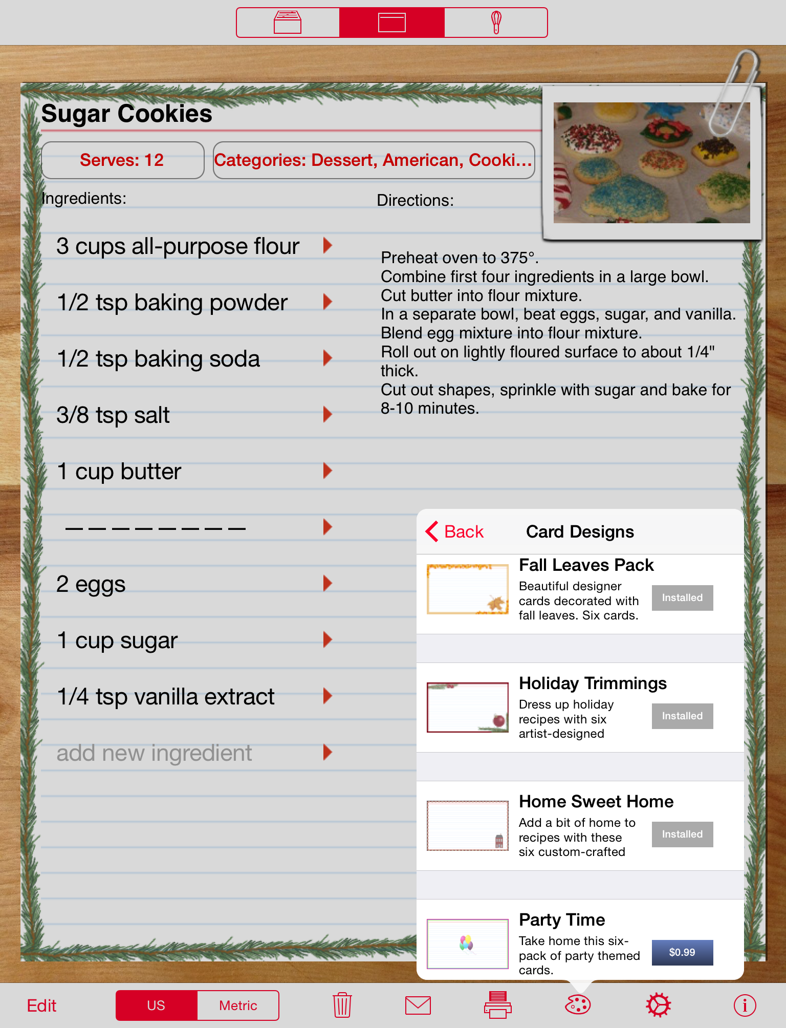 Recipe Manager with Serving Sizer