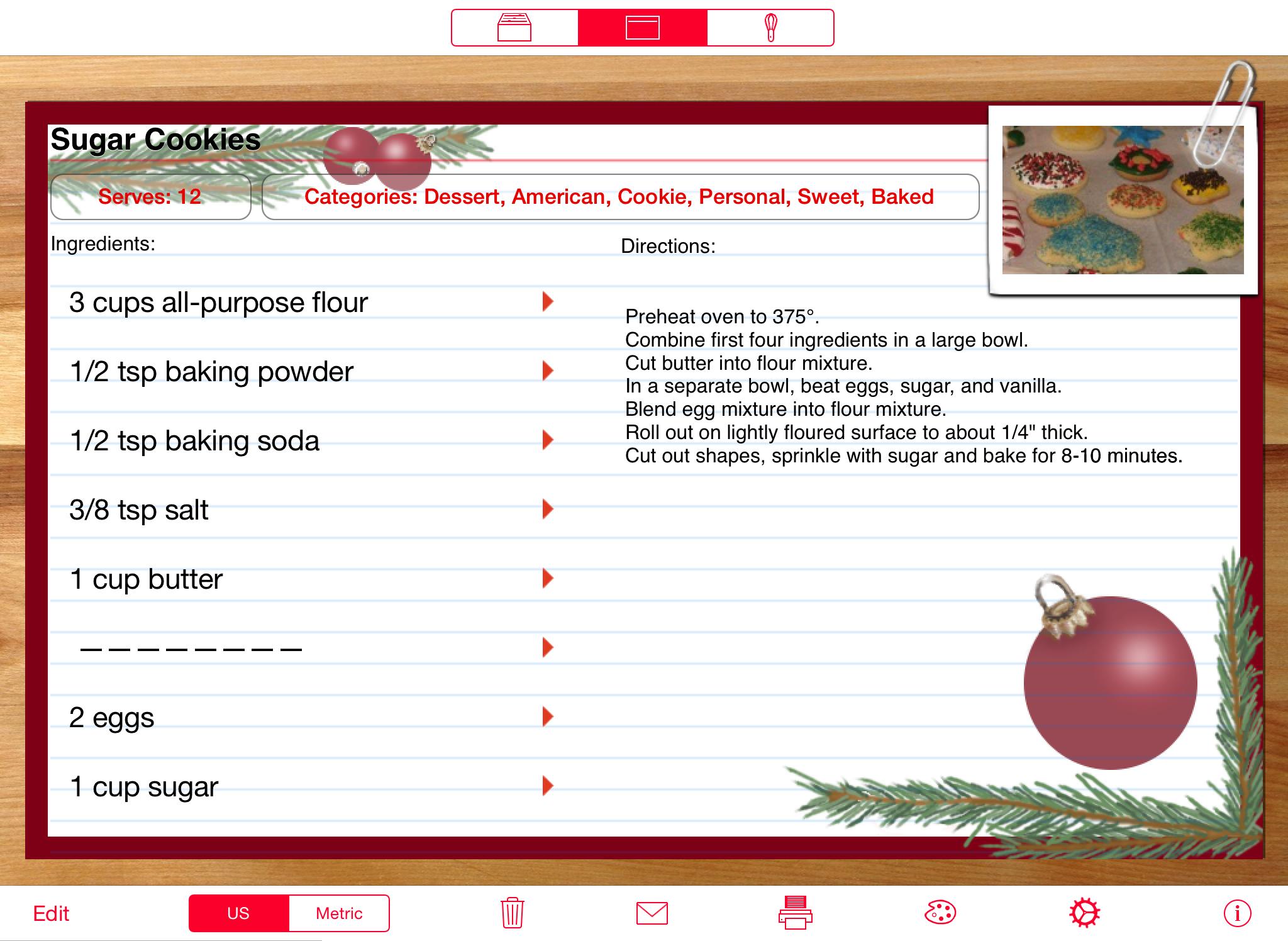 recipe manager with serving sizer ipad and ipad mini cooking