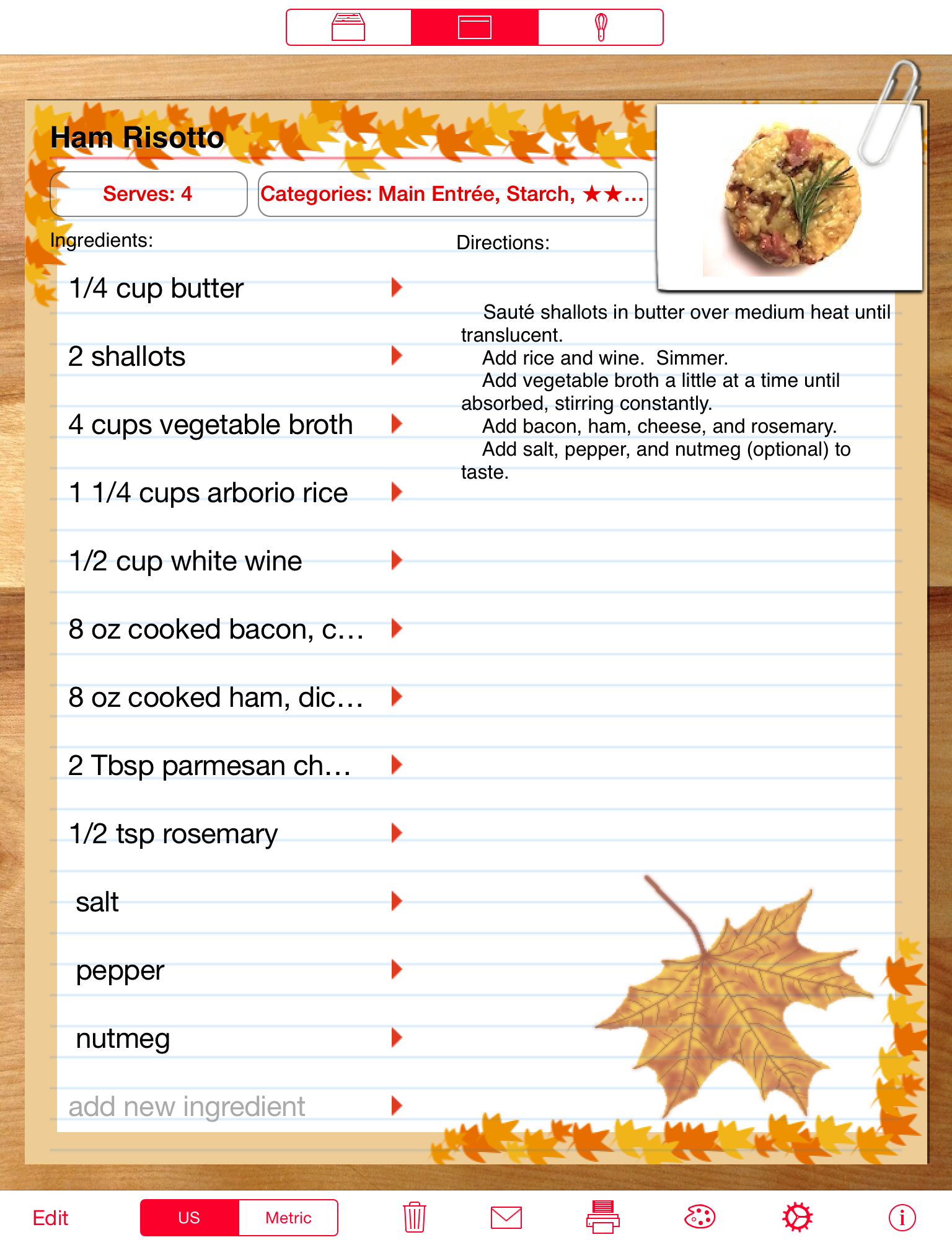 Serving Sizer recipe                                     cards