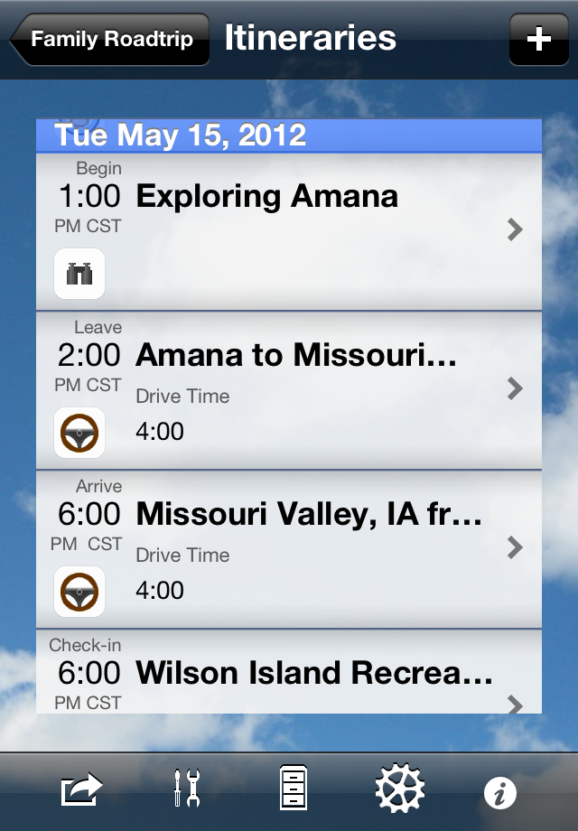 Trip Boss Itinerary List screenshot