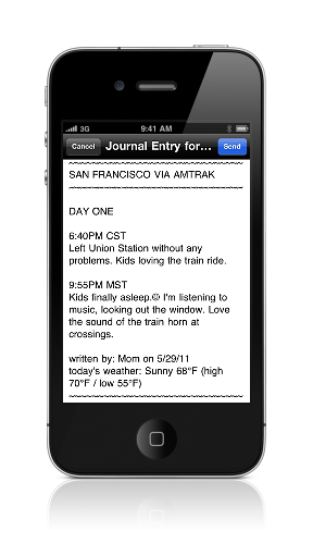 Email                               text screen of journal entry