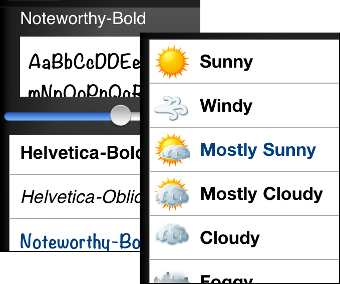 note weather and set fonts
