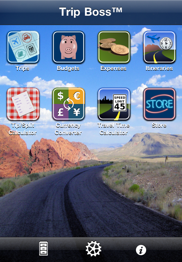 Trip Boss travel manager main icon navigation screenshot