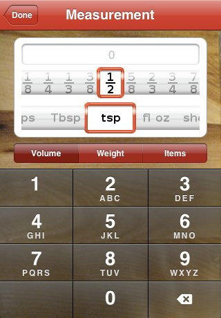 Serving Sizer Measurement picker screen